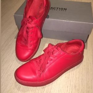 KENNETH COLE REACTION JOEY RED LEATHER SNEAKERS 6
